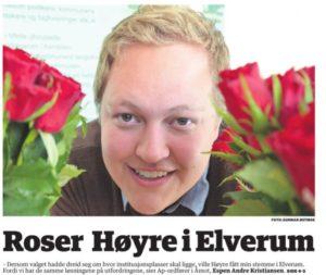 FAKSIMILE: Østlendingen slår 12. september opp at Åmots Ap-ordfører roser Høyre i ELverum og ville stemt på dem. - Jeg har ikke rost Høyre i Elverum. Jeg er sosialdemokrat og heier selvfølgelig på Elverum AP og Ingvar Midthun, sier Åmot ordføreren selv. Faksimile: Østlendingen